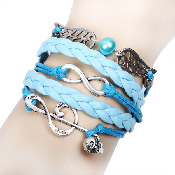 fashion Skull Antique silver infinity bracelet with angle's wing leather wrap bracelets for women or man Q8025