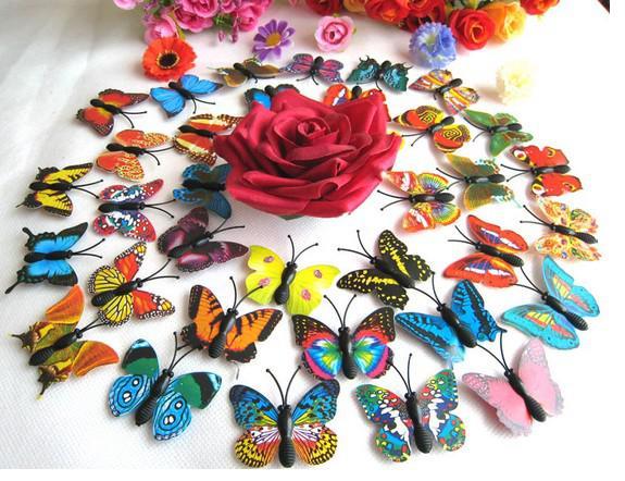 Etiqueta engomada artificial del imán del refrigerador de la mariposa 3D Imanes de nevera Decoración casera