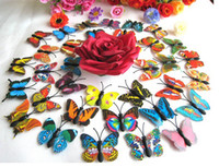 Wholesale 3d Butterfly Home Decorations - 4cm Home Decoration Artificial 3D Butterfly Fridge Magnet Sticker Refrigerator Magnets