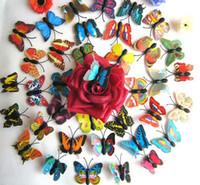 imanes a casa al por mayor-Etiqueta engomada artificial del imán del refrigerador de la mariposa 3D Imanes de nevera Decoración casera