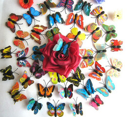 Wholesale Butterfly Refrigerator - Artificial 3D Butterfly Fridge Magnet Sticker Refrigerator Magnets Home Decoration
