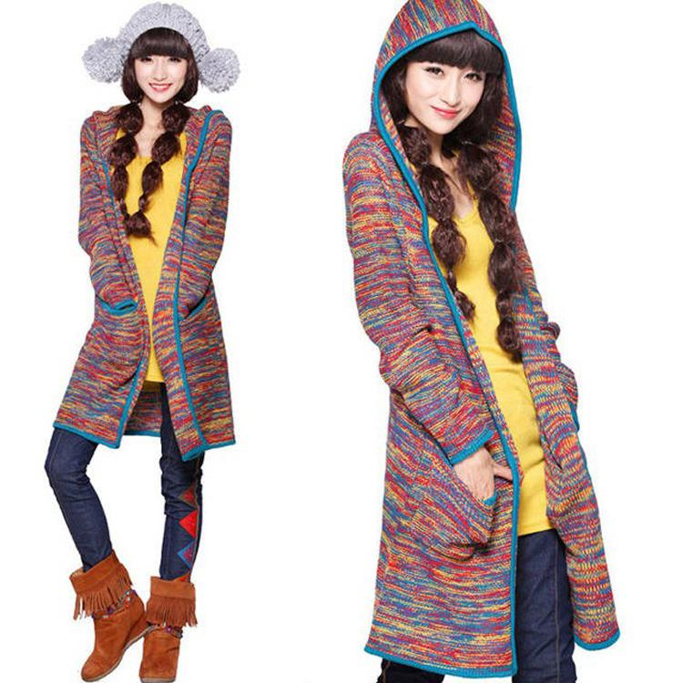 2018 Ethnic Colorful Hoodies Cardigan Sweater Double Pocket Loose ...