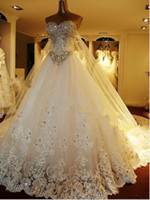 Wholesale Dresses Got - Newest Luxury bride dress crystals cathedral wedding Free Veil Free PETTICOAT 2013 buy 1 get 2