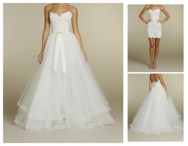 Wholesale Wedding Gowns In Usa: Discount White/Ivory Detachable Skirt Lace Wedding Dress A