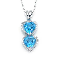 Wholesale Blue Topaz White Gold Necklace - Natural blue topaz pendant,925 silver plated 18k white gold Free shipping DH# 13090554