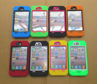 Wholesale Hybrid Case Iphone4 - Hybrid Rugged Impact Hard PC Inserts + Silicone Skin Cover Case for iPhone4 4G 4S 100pcs