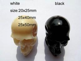 Wholesale Carved Stone Pendant Beads - 40-50mm full strand Acrylic pendant resin plastic beads skull skeleton carved ivory white black jewelry bead