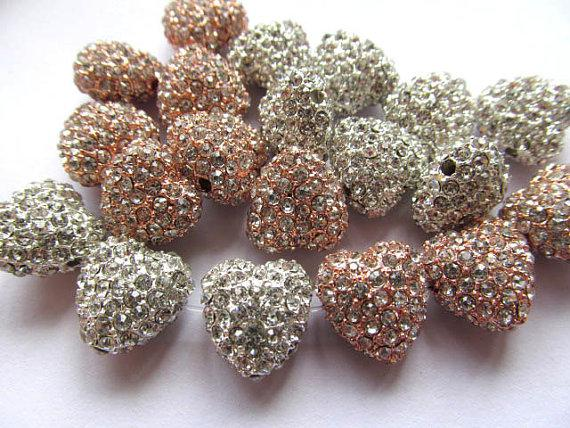 Micro pave bling heart teardrop spacer bead Silver Rose gold for making jewelry Finding 12pcs 12mm