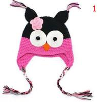 chapéu da criança do crochet da coruja venda por atacado-Alta qualidade 18 cores Artesanal De Malha de Crochê chapéus da coruja do bebê com a aba da orelha Criança tampas de inverno infantil Knit beannie earflap