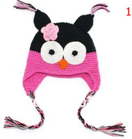 Wholesale Toddler Owl Knitted Hats - High quality 18 colors Handmade Knitted Crochet baby owl hats with ear flap Toddler infant winter caps Knit beannie earflap