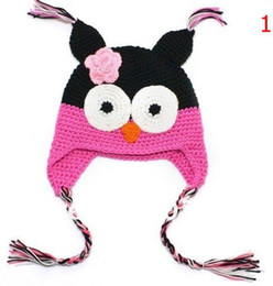 Wholesale Infant Earflap Hat - High quality 18 colors Handmade Knitted Crochet baby owl hats with ear flap Toddler infant winter caps Knit beannie earflap