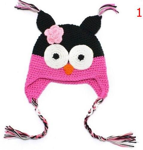 High quality 18 colors Handmade Knitted Crochet baby owl hats with ear flap Toddler infant winter caps Knit beannie earflap