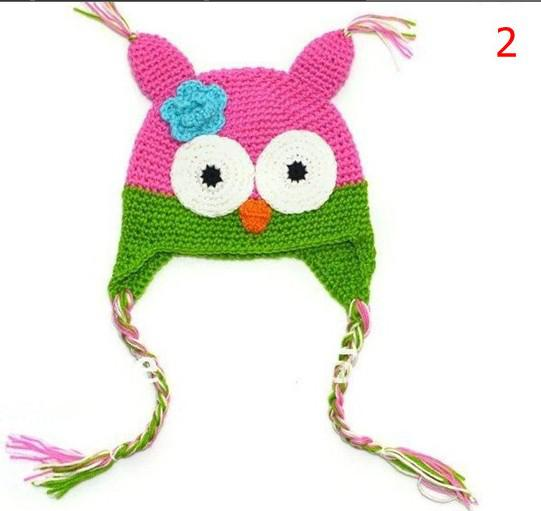 High quality Handmade Knitted Crochet baby owl hats with ear flap Toddler infant winter caps Knit beannie earflap