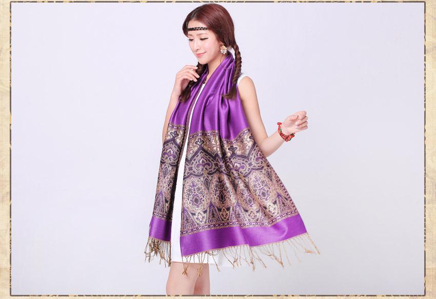 Vogue Beautiful Purple Wide Polyester Schal Schal Mode-Accessoires für die Dame WJ812