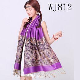 2019 capuz de peles Acessórios de forma largos roxos bonitos do xaile do lenço do poliéster da moda de Vogue para a senhora WJ812