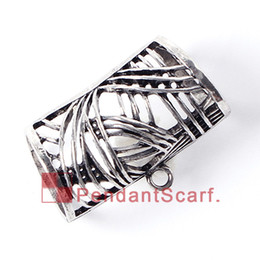Wholesale Hot New Fashion Jewellery - 12PCS LOT Hot Fashion DIY Jewellery Scarf Pendant New Style Mental Alloy Hollow Out Charm Slide Holding Tube Bails, Free Shipping, AC0229