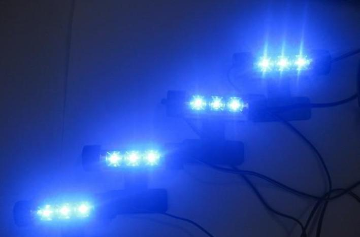 Cool Fashion 4x 3LED Blue Car Charge interior light 4in1 12V Glow Decorative Atmosphere Lamp ,!