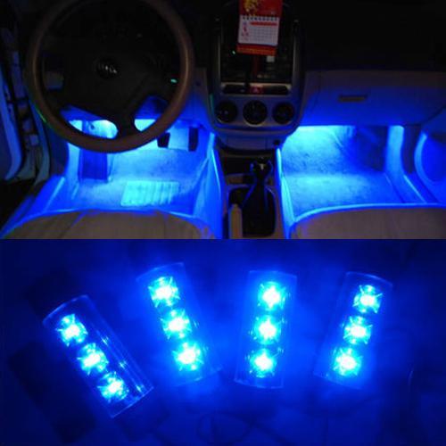 멋진 패션 4x 3LED 블루 차 충전 인테리어 조명 4in1 12V 글로우 장식 대기 램프, 무료 배송!