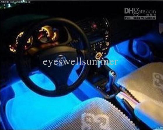 Прохладный мода 4x 3led синий автомобиль заряда внутренний свет 4в1 12 В свечение декоративные атмосфера лампа, Бесплатная доставка!