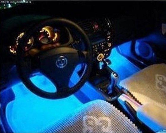¡Enfriar la lámpara decorativa de la atmósfera del resplandor de la luz 4in1 12V de la carga azul del coche de la manera 4x 3LED, envío libre!