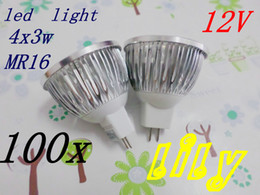 Wholesale Mr16 12w Fedex - fedex 100x LED light 4x3w 12w led spotlight Bright 12w=50wEnergy dimmable leds downlight MR16 12V LED BULB free shipping50