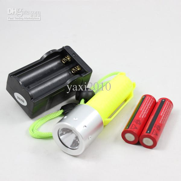 Free Shipping Diving 1600LM CREE XM-L T6 LED Flashlight Waterproof Torch+2 x 18650 Battery+Charger