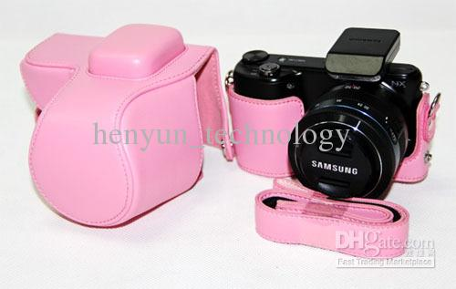 New leather camera case bag for Samsung NX2000 Pink