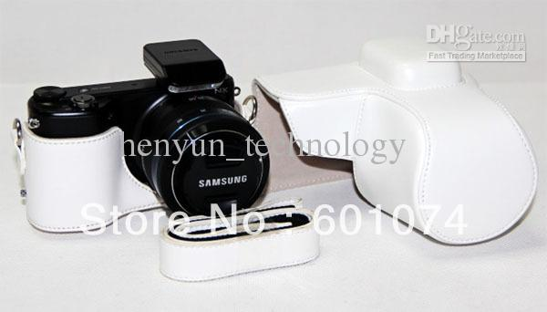 New leather camera case bag for Samsung NX2000 White