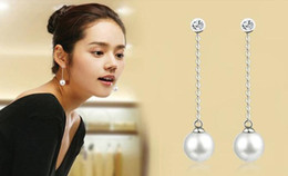 Wholesale Grey Pearl Pendant - Temperament Long Tassel Pearl Drop Earrings Jewelry Fashion Accessories Pearls pendant type Dangle Chandeliers Earrings white grey coffee