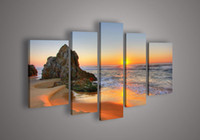 5 Piece Wall Art Seascape Azul Ocean Sunset Mar Pintura a óleo sobre tela Texturizado Abstract Paintings Pictures On The Wall