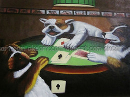 Wholesale Dogs Playing Poker - Seascape Dogs playing poker Office background Abstract free shipping oil paintings on canvas Modern Art Deco