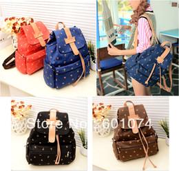 Wholesale vintage canvas backpack floral - Women Girl Vintage Cute Flower Floral Bag Schoolbag Travel Bookbag Backpack
