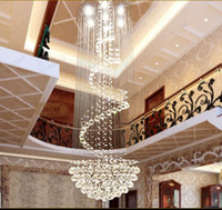 Wholesale Spiral Staircase Crystals - nimi111 Dia 40 60 80 100cm Crystal Lamps Chandelier Penthouse Spiral Staircase Villa Living Room Lighting Fixtures Duplex Pendant Lights