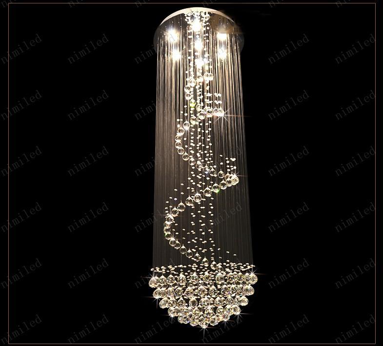 nimi111 Dia 40/60/80 / 100cm Lámparas de Cristal Lámpara Araña Espiral Escalera Villa Sala de estar Accesorios de iluminación Luces colgantes Duplex