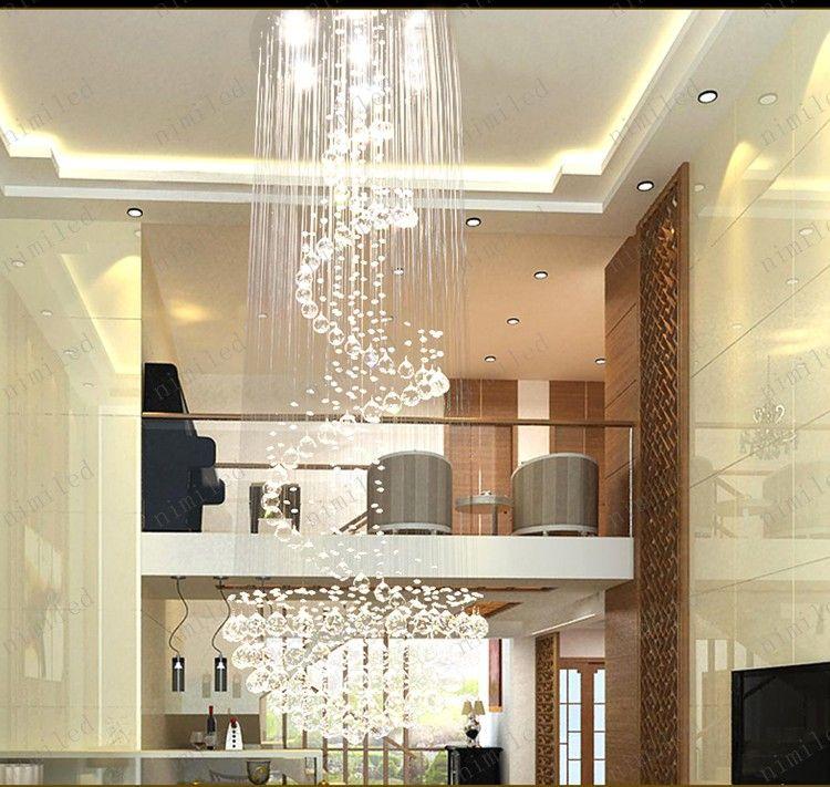 nimi111 Dia 40/60/80/100cm Crystal Lamps Chandelier Penthouse Spiral Staircase Villa Living Room Lighting Fixtures Duplex Pendant Lights