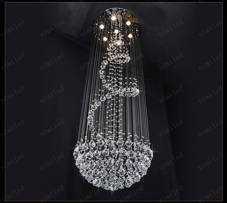 Nimi111 Dia 40/60/80/100 cm Kristal Lambaları Avize Penthouse Spiral Merdiven Villa Oturma Odası Aydınlatma Armatürleri Dubleks Kolye Işıkları