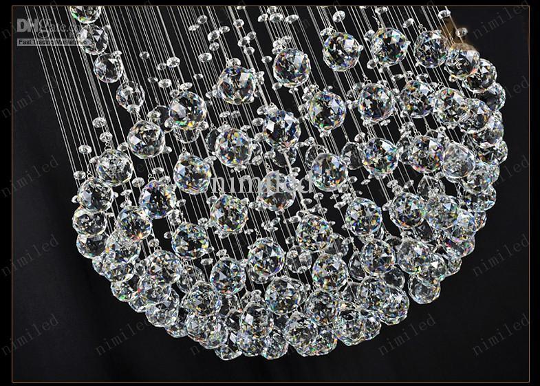 nimi111 Dia 40/60/80/100 cm Lâmpadas de Cristal Lustre Penthouse Escada Em Espiral Villa Sala de Iluminação Luminárias Duplex Luzes Pingente