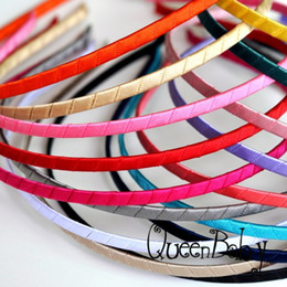 Wholesale Headband Hard - Trial Order Metal Hard Headbands Ribbon Covered Headbands 5MM Wide For Toddlers Children BY QueenBaby 48PCS LOT