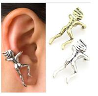 Wholesale Climbing Man Earrings - E0063 Fashion Vintage Climbing Men Punk EAR CLIP EARRING EAR CUFF Personality Nude Trendsetter Copper Silver Ear hang Free shipping