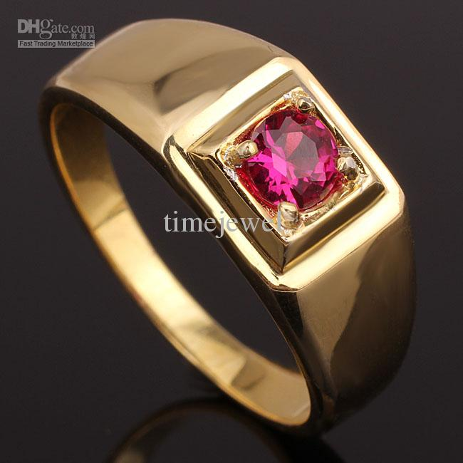 Beautiful 2018 Hot Sale Red Ruby 18k Yellow Gold Gp Man Solid Silver Ring  IS87