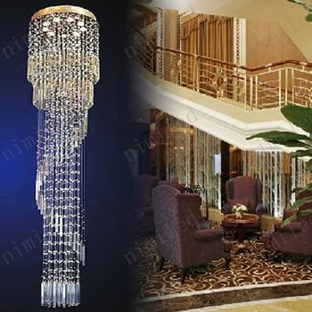 nimi113 Modern Villa Duplex Penthouse Floor Hanging Wire Crystal Stair Lamp Living Room Chandelier Spiral Pendant Droplight