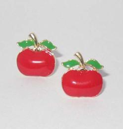 Wholesale Red Apple Earrings - Korean Pierced Earrings fashion jewelry oil Drip tomato fruits Red apples lady stud earrings oildrop women ear neil for holiday gift E0068
