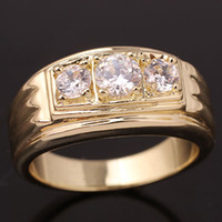 Wholesale 18k Gp Sterling Silver - Classic Clear CZ 18K Yellow Gold GP Men's 925 Sterling Silver Ring MAN GFS Size 10 11 12 13 R519G