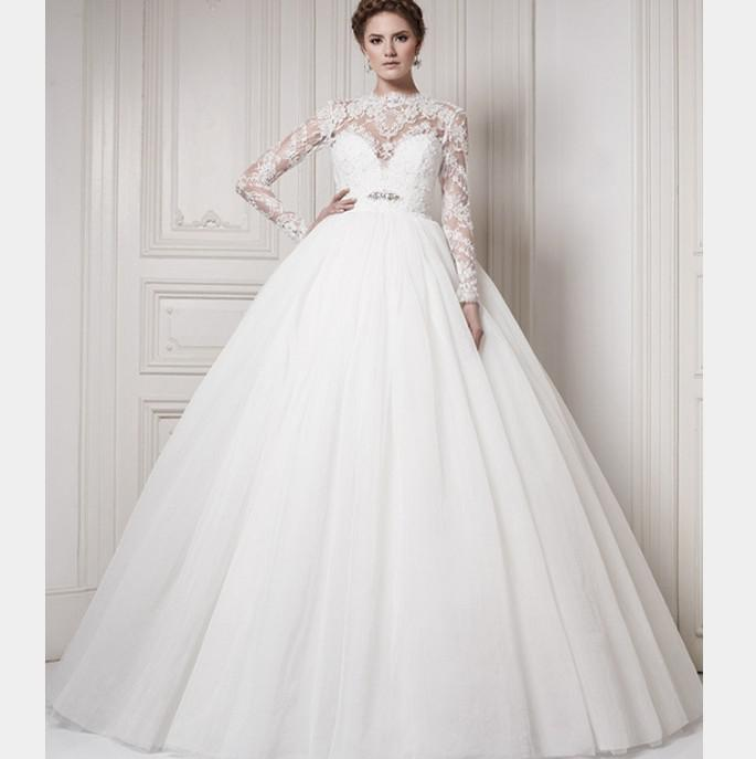 Long Sleeve Ball Gowns Wedding Dress Transparent Neckline Empire ...