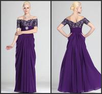 ingrosso bei vestiti da promenade increspati-Nuovo arrivo 2019 bella fuori dalla spalla viola Chiffon sexy volant Prom Dresses Abiti da sera formale