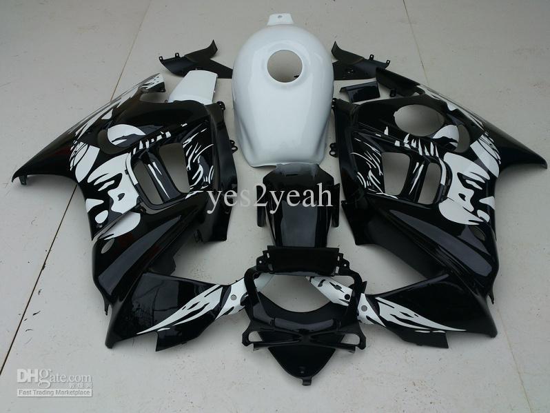 Vit Svart Fairing Body Kit för Honda CBR600F3 97 98 CBR600 F3 CBR 600 F3 1997 1999 Motorcykel Fairings Set + Presenter HA36