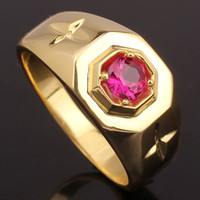Wholesale Solid Yellow Gold Ruby Ring - Hot Sale Red Ruby Yellow Gold Finish Men Solid Silver Ring MAN GFS Multi Sizes R524G