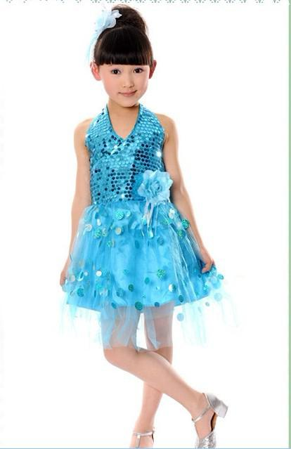 The new children's dance costumes children dress girls sequined veil