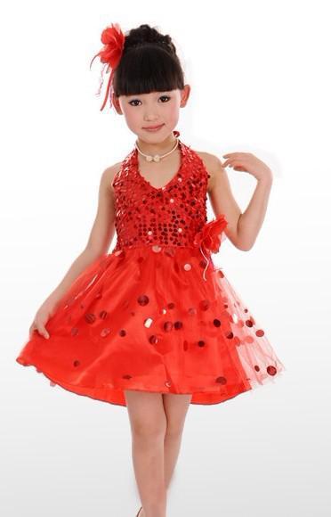 5 st De nya barnens danskostymer barn klär tjejer Sequined slöja
