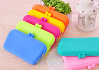 Wholesale Silicon Rubber Wallets - 2015 new Cheap price Beautiful Silicon Rubber Coins Pouch Case Purse Wallet Glasses Phone Cosmeti Bag